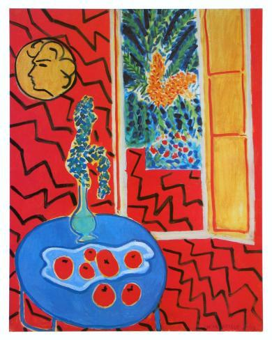 Red Interieur, Still Life on a Blue Table, c.1947 Art Print
