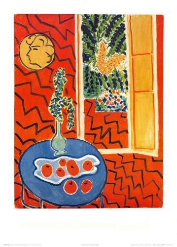 Red Interior, Still Life on Blue Table, c.1947 Lámina