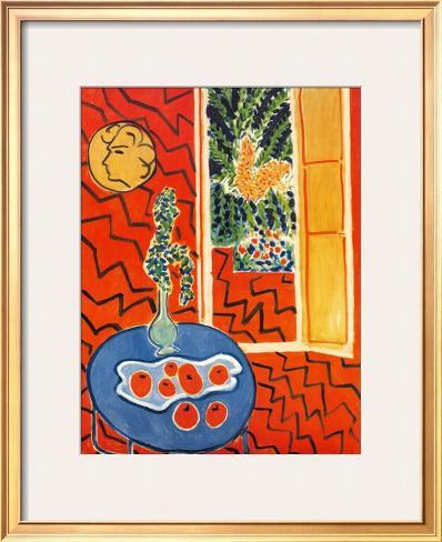 Red Interior, Still Life on Blue Table, c.1947 Framed Art Print