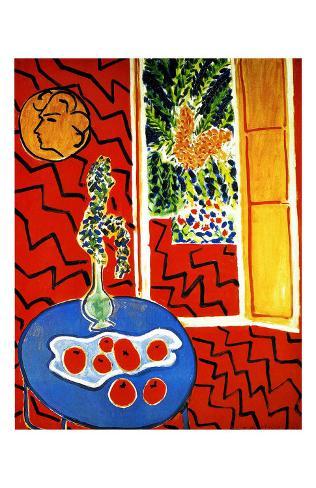 Red Interior Framed Giclee Print