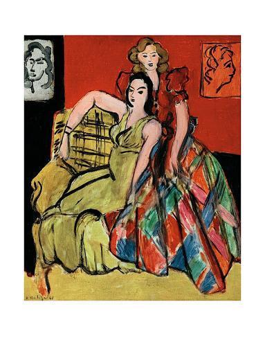 Two Young Women, the Yellow Dress and the Scottish Dress, c.1941 Kunstdruk