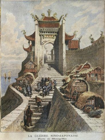 Sino-Japanese War, Shanghai gate, Illustration from 'Le Petit Journal', 6th January 1895 Giclee Print