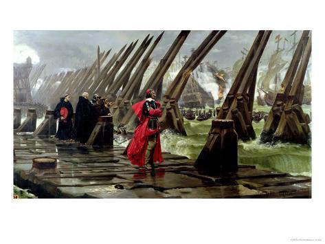 Richelieu (1585-1642) on the Sea Wall at La Rochelle, 1881 Lámina giclée
