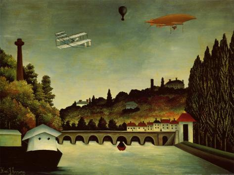 Landscape and Zeppelin Art Print