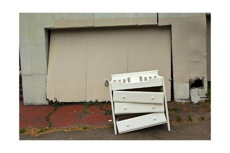 Broken Dresser In Front Of Old Garage Door Oakland Ca