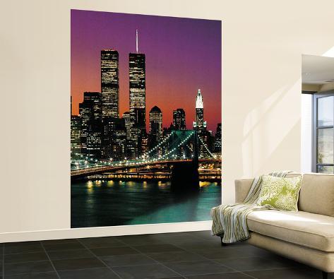 henri silberman new york city brooklyn bridge sunset huge wall mural art print poster mural de. Black Bedroom Furniture Sets. Home Design Ideas