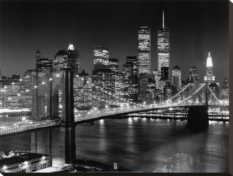 New York, New York, Brooklyn Bridge Stretched Canvas Print