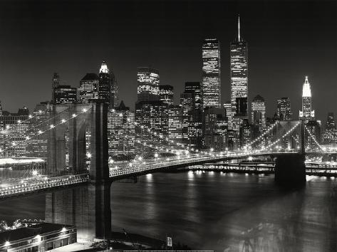 New York, New York, Brooklyn Bridge Mounted Print