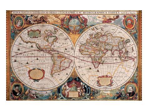 Antique Map, Geographica, Ca. 1630 Premium Giclee Print