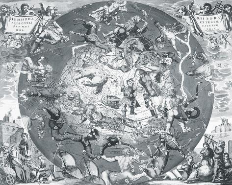Hemisphae Alis Coeli Sphaeri Grarii Bore et Terre Casceno Phia, 1660 Giclee Print