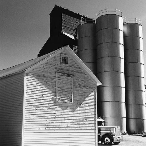 Barn and silos Stretched Canvas Print