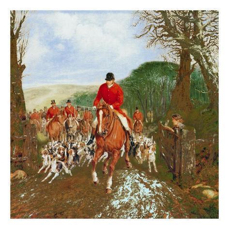 A Hunt Going Through A Gate Art Print