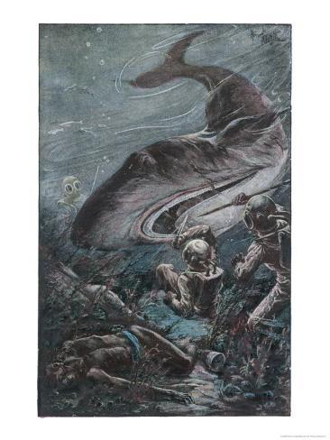 20,000 Leagues Under the Sea: Divers Attacked by a Shark Giclee Print