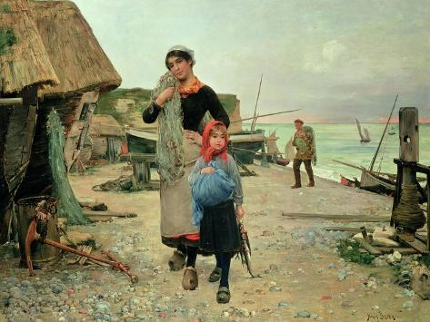Fisherfolk Returning with their Nets, 1882 Giclee Print