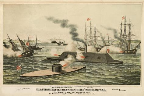The First Battle Between 'Iron' Ships of War, Published C.1862 Stampa giclée