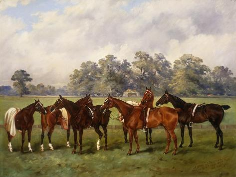 A Group of Polo Ponies, Dainty, Gold, Redskin, Miss Edge, and Piper Giclee Print