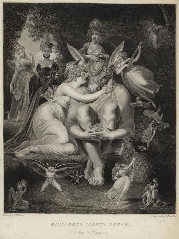 Titania Kissing Bottom in a Midsummer Night's Dream Lámina giclée