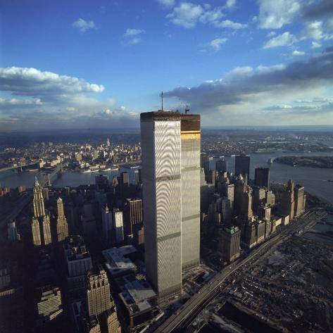 Financial District with World Trade Center's Twin Towers Dwarfing Rest of Wall Street Buildings Photographic Print
