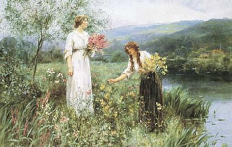 Gathering Flowers Art Print