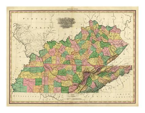 Kentucky, Tennessee and Part of Illinois, c.1823 Art Print
