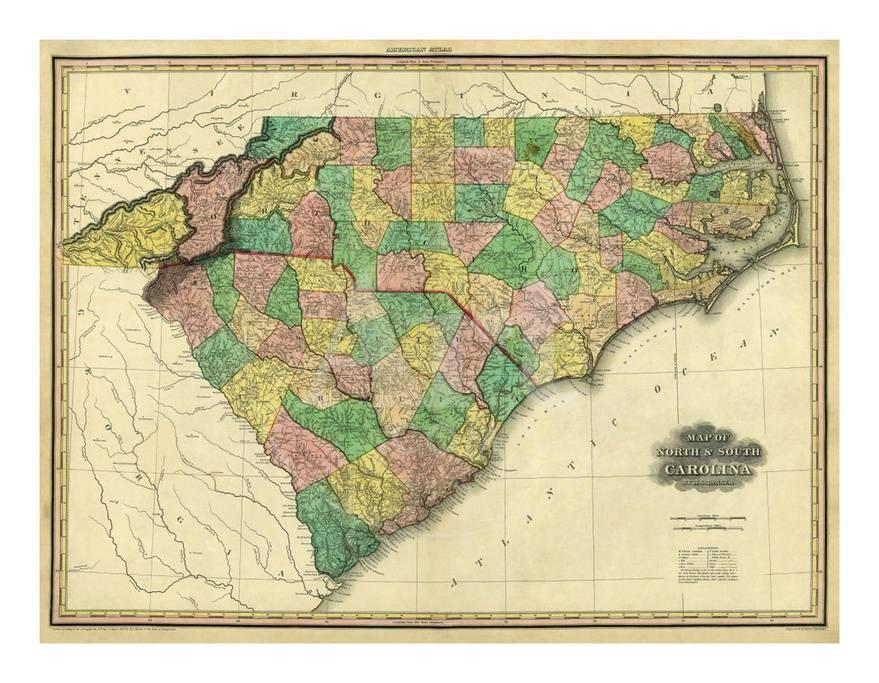 Map Of North And South Carolina C 1823 Prints By Henry S Tanner At