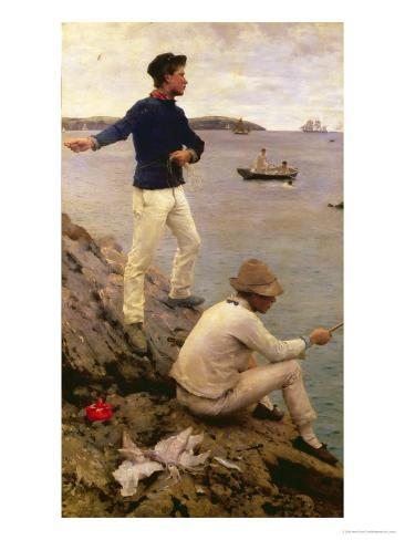 Fisher Boys, Falmouth, 1885 Giclee Print
