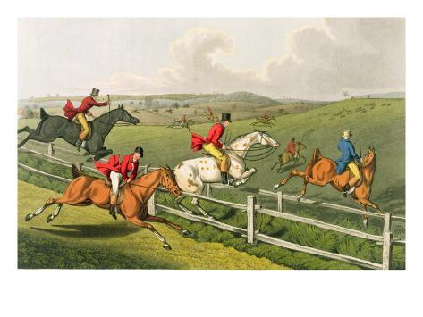 Fox Hunting, aquatinted by I. Clark, pub. by Thomas McLean, 1820 Lámina giclée