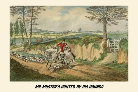 Mr. Muster's Hunted by His Hounds Lámina