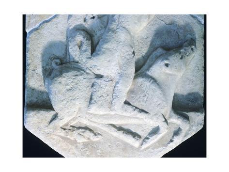 Hercules Carrying an Erymanthian Boar, Votive Relief, Detail Gicléetryck