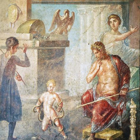 Hercules Strangling Snakes, Fresco in Oecus, House of Vettii, Pompeii Photographic Print