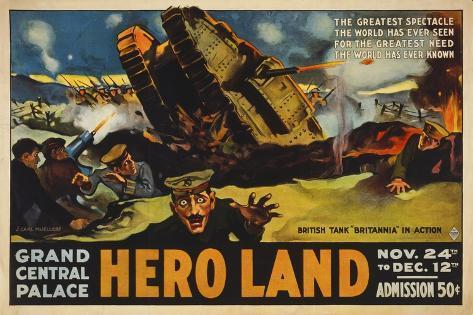 Hero Land, WWI Movie Poster Giclee Print