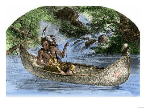 Hiawatha Fishing from a Canoe Giclee Print