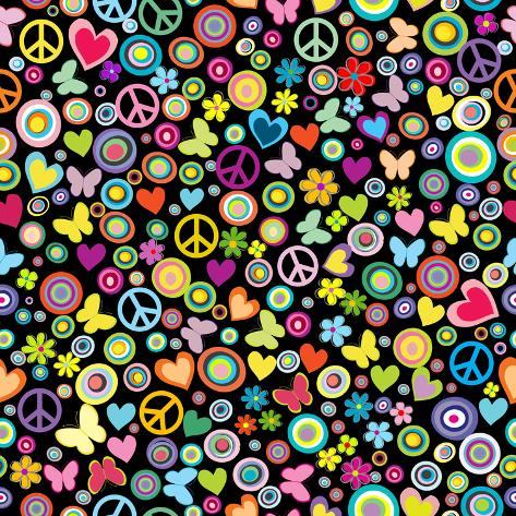 Seamless Pattern of Flowers, Circles, Hearts, Butteflies and Pea Art Print