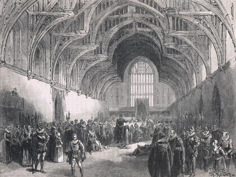 State Trial in Westminster Hall in the Time of Elizabeth I Stampa giclée
