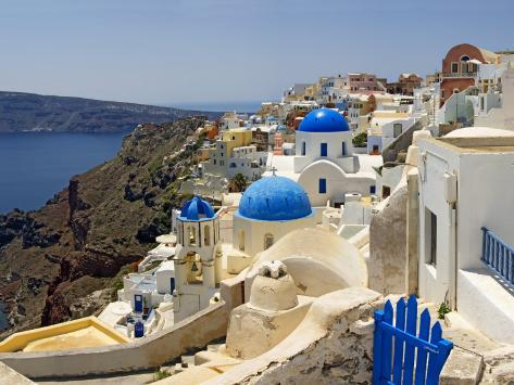 High Angle View of a Church, Oia, Santorini, Cyclades Islands, Greece Stretched Canvas Print