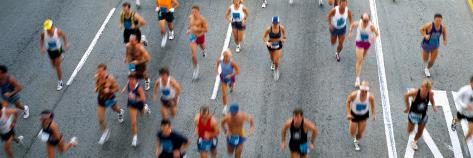 High Angle View of People Running in a Marathon, Chicago Marathon, Chicago, Illinois, USA Photographic Print