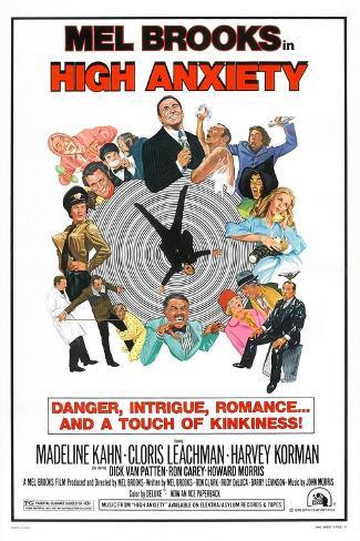 HIGH ANXIETY, US poster, Mel Brooks (top center), 1977 Art Print