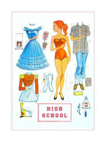 High School Paper Doll Art Print