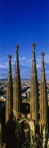 High Section View of Towers of a Basilica, Sagrada Familia, Barcelona, Catalonia, Spain Photographic Print