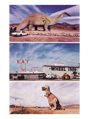 Highway Attractions, Dinosaurs, Retro Art Print