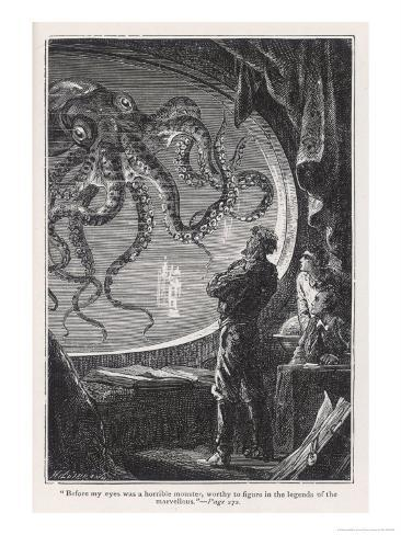 20,000 Leagues Under the Sea: Giant Squid Seen from the Safety of the Nautilus Giclee Print