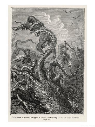 20,000 Leagues Under the Sea: The Squid Claims a Victim Giclee Print