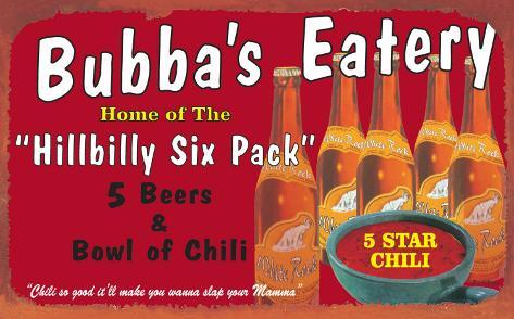 Hillbilly Six Pack Tin Sign
