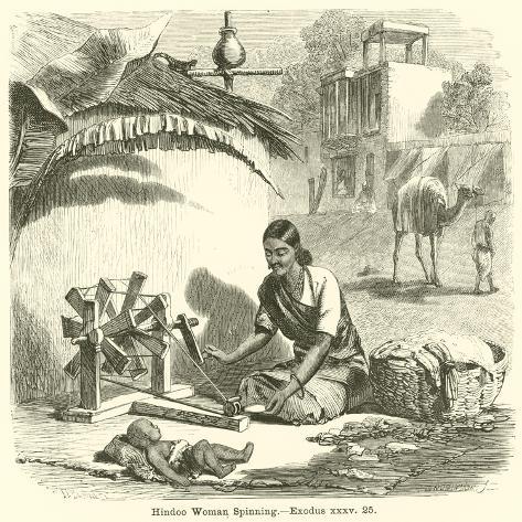 Hindoo Woman Spinning, Exodus, XXXV, 25 Lámina giclée