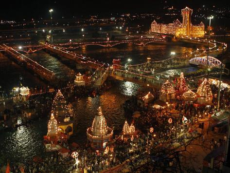 Hindu Devotees Gather to Bathe in River Ganges During the Kumbh Mela Festival in Haridwar, India Photographic Print