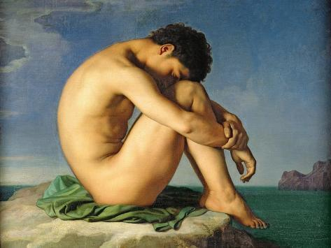 Naked Young Man Sitting by the Sea, 1836 Giclee Print