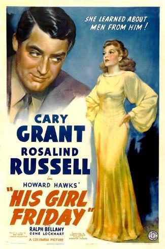 His Girl Friday, Cary Grant, Rosalind Russell, 1940 Art Print