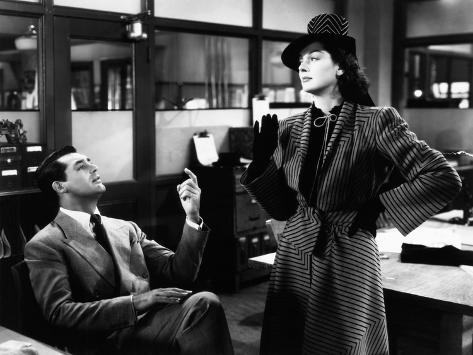 His Girl Friday, from Left: Cary Grant, Rosalind Russell, 1940 Photo
