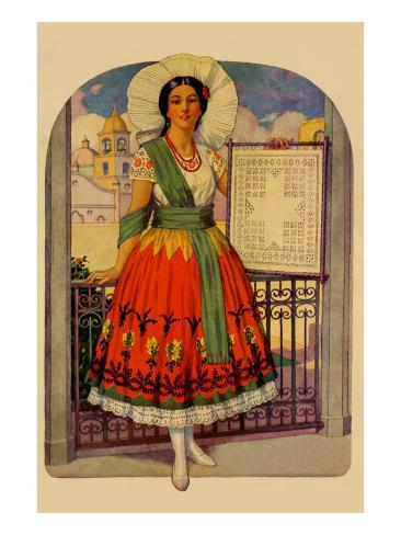 Hispanic Holds Up a Lace Design On a Frame Art Print