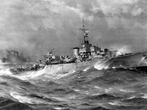 HMS 'Helmsdale', North Atlantic, 1944 Stretched Canvas Print